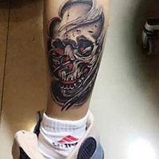 脚踝鬼头纹身图案