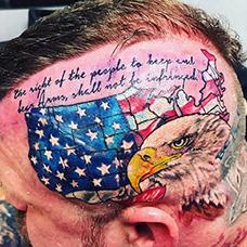 头部个性的美国国旗纹身图案