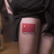 性感长腿美女五星红旗纹身图案