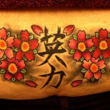 腹部樱花中的汉字纹身图案