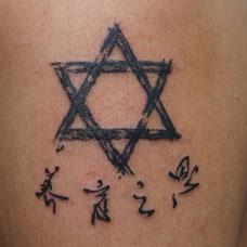 手臂六芒星汉字纹身图片