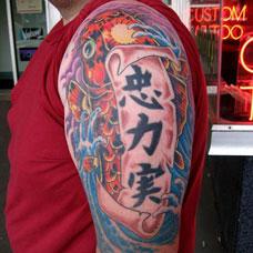 大臂霸气鲤鱼汉字纹身图案