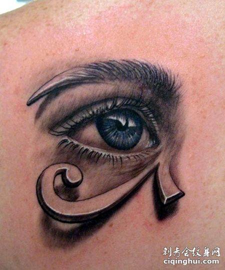 肩部创意荷鲁斯之眼纹身图案