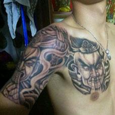 半甲哼哈二将纹身图案