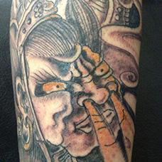 手臂哼哈二将的哼纹身图案