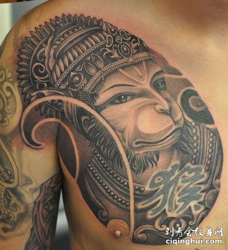 半甲印度猴神纹身图案