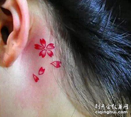 耳后樱花花瓣纹身图案