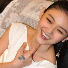 美女明星大S虎口小花朵纹身图片
