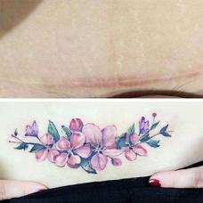 小清新花瓣剖腹产疤痕水彩纹身