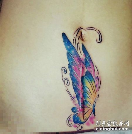 彩色蝴蝶剖腹产疤痕遮盖纹身