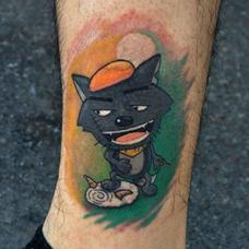 小腿上的灰太狼纹身图案
