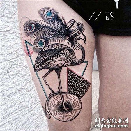 骑自行车的火烈鸟点刺纹身