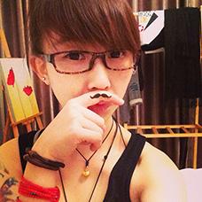 可爱女生手指胡子纹身图案