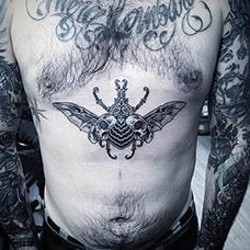 腹部甲虫纹身图片