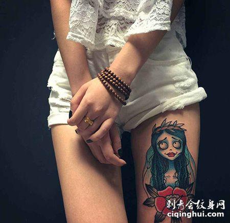 女生大腿僵尸新娘纹身图案