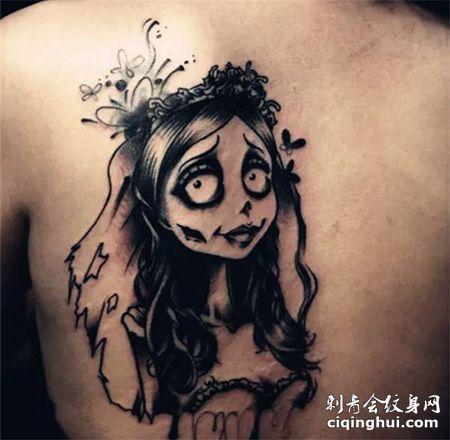 背部僵尸新娘纹身图片