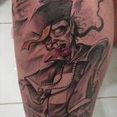 小腿僵尸纹身图案
