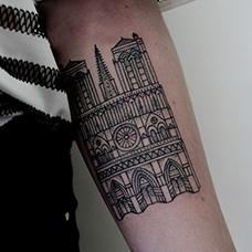 手臂简单的教堂纹身图片