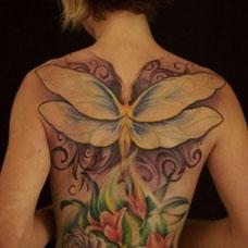 满背彩色花朵精灵纹身图案