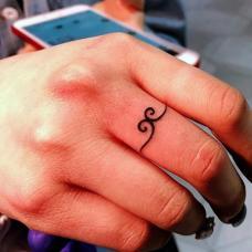 手指上紧箍咒指环纹身图案
