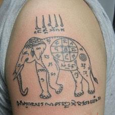 大臂大象经文纹身图案