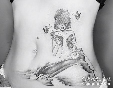 美女鲸鱼图案剖腹产疤痕纹身