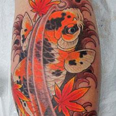 小腿锦鲤枫叶纹身图案