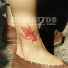 休闲女生脚踝红色金鱼纹身图案