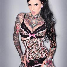 欧美女人花臂机械花朵纹身图案