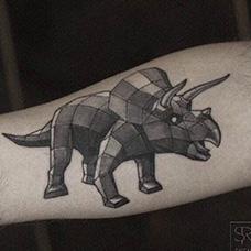 手臂几何恐龙纹身图片