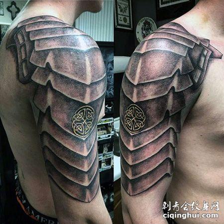 大臂金属盔甲纹身图片