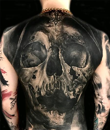 霸气的欧美写实骷髅死神满背纹身