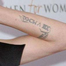 手臂拉丁文数字纹身图案