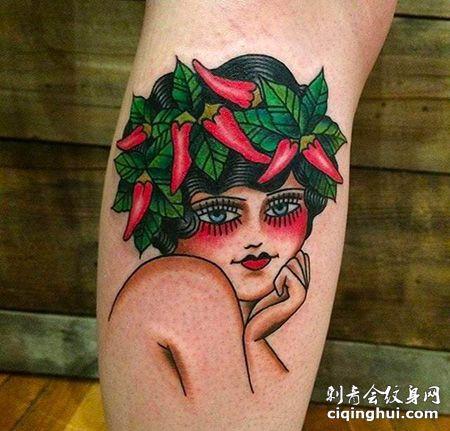 小腿头顶辣椒的女人纹身图案