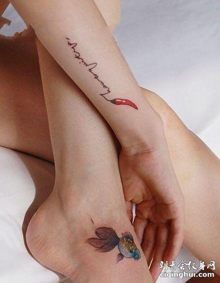 女生手腕红辣椒纹身图片