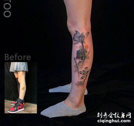 小腿水墨风格莲花图案胎记纹身