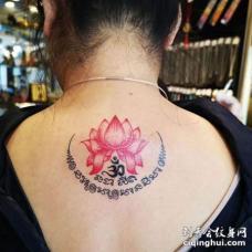 唯美莲花后颈刺青纹身