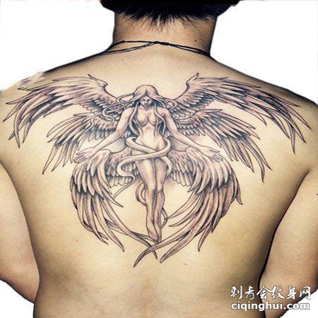 背部个性六翼天使纹身图片