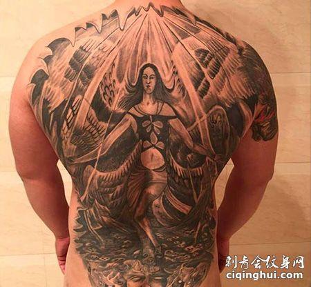 男士满背六翼天使纹身图案