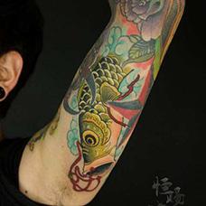 花臂鲤鱼旗纹身图案