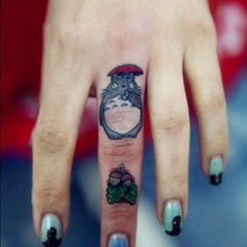 手指上的龙猫纹身图案