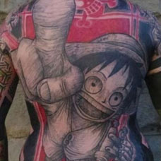 满背海贼王路飞纹身图案