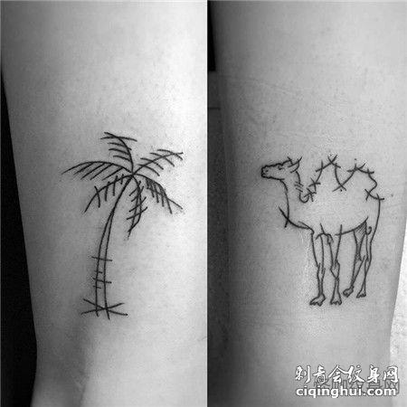 手臂上椰树与骆驼线条纹身