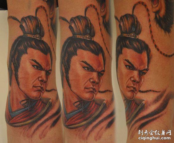 英俊的吕布纹身图案