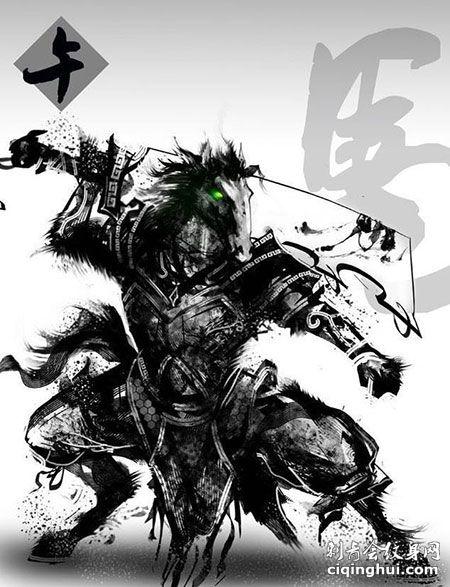 十二生肖暗黑水墨风霸气马纹身手稿