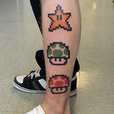 小腿马里奥蘑菇星星纹身图案