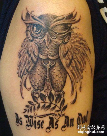 手臂猫头鹰纹身图案