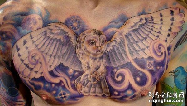 胸部飞翔的猫头鹰纹身图案