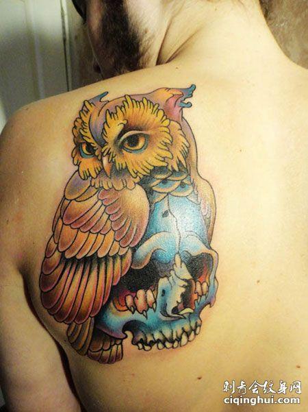 背部个性猫头鹰骷髅纹身图案