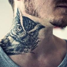 扎胡男脖子猫头鹰纹身图案